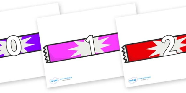 Numbers 0-31 on Candy Bars - 0-31, foundation stage numeracy, Number recognition, Number flashcards, counting, number frieze, Display numbers, number posters