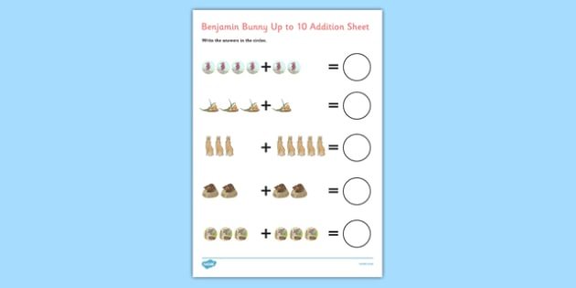 Beatrix Potter - The Tale of Benjamin Bunny Up to 10 Addition Sheet - beatrix potter, benjamin bunny