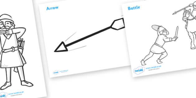 The Battle of Hastings Story Colouring Sheets - The Battle of Hastings, English, Normans, battle, colouring, fine motor skills, poster, worksheet, vines, A4, display, Saxons, Harold, William, sword, archer, retreat, cavalry, arrow, eye