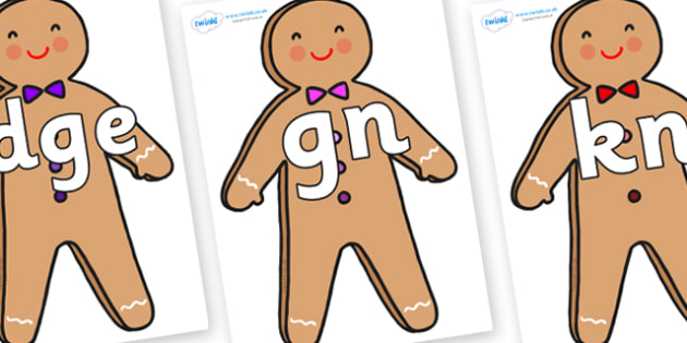 Silent Letters on Gingerbread Man - Silent Letters, silent letter, letter blend, consonant, consonants, digraph, trigraph, A-Z letters, literacy, alphabet, letters, alternative sounds