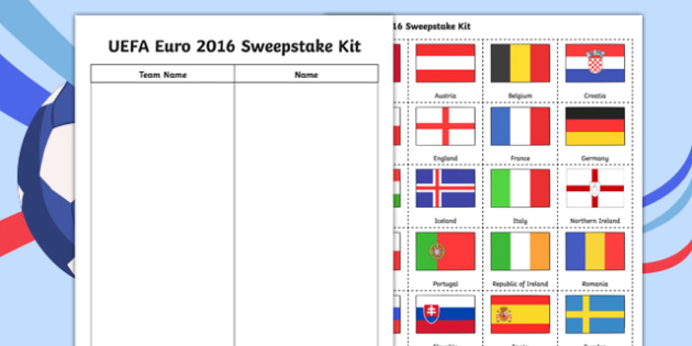 Football UEFA Euro 2016 Sweepstake Kit - football, uefa, euro 2016, world cup, sweepstake kit
