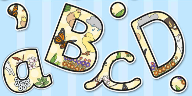 Spring Themed Size Editable Display Lettering - display, letters