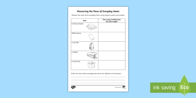 measuring the mass of everyday items worksheet activity sheet. Black Bedroom Furniture Sets. Home Design Ideas