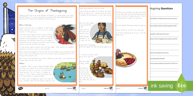 The Origin of Thanksgiving Advanced Reading Comprehension Activity - Thanksgiving Worksheet