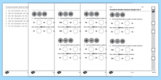Procedural Number Sentence Sample Year 2 - welsh, cymraeg, Number Sentence, Year 2, Procedural Test, Wales
