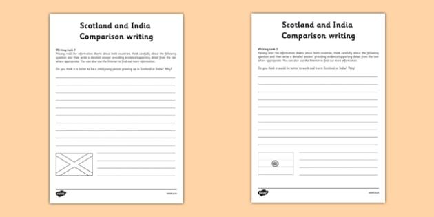 Scotland and India Comparison Writing Task Sheet - CfE, Social Studies, Lifestyle comparison, India, Scotland