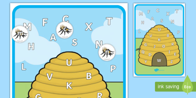 Beehive Themed Upper and Lower Case Letter Matching Activity - beehive, uppercase, lowercase, letter, alphabet, matching, match, game, activity