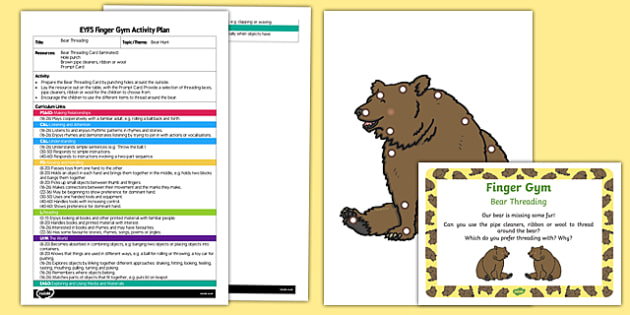 EYFS Bear Threading Finger Gym Plan and Resource Pack