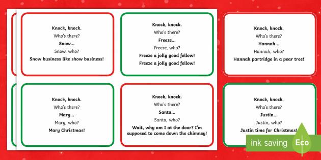 Knock Knock Christmas Cracker Jokes Teacher Made