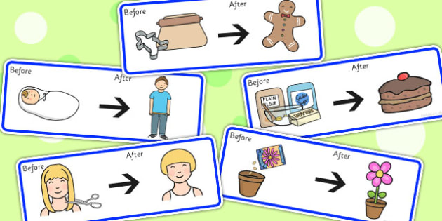 Before And After Picture Cards - preposition, position, SEN