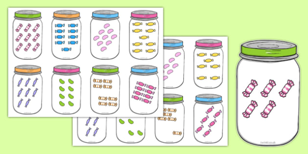 Sweets in Jar Subitising Cards 1-9 - sweets in a jar, subitising cards, subitising, 0-9
