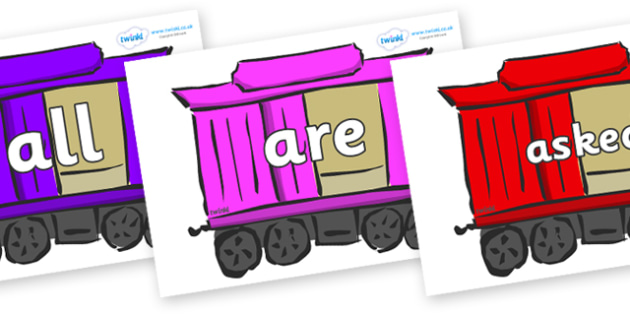 Tricky Words on Carriages - Tricky words, DfES Letters and Sounds, Letters and sounds, display, words