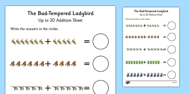 Up to 20 Addition Sheet to Support Teaching on The Bad Tempered Ladybird - add, maths