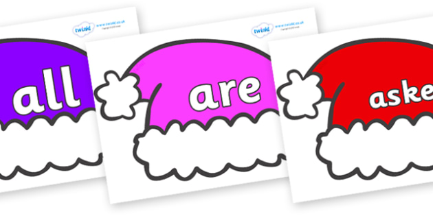 Tricky Words on Santa Hats - Tricky words, DfES Letters and Sounds, Letters and sounds, display, words