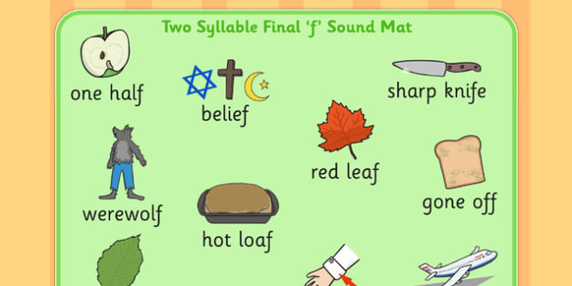Two Syllable Final 'F' Sound Word Mat 2 - final f, sound, mat