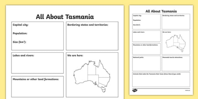 All About Tasmania Research Activity Sheet - australia, Geography, research, questions, questioning, answers, Tasmania, Hobart, facts, states, territories, Australia, worksheet