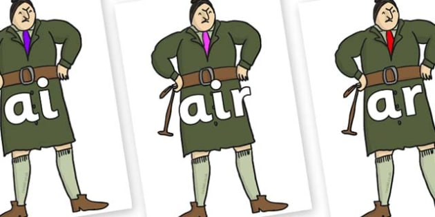 Phase 3 Phonemes on Mrs Trunchbull to Support Teaching on Matilda - Phonemes, phoneme, Phase 3, Phase three, Foundation, Literacy, Letters and Sounds, DfES, display