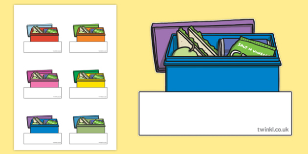 Lunch Box Themed Self-Registration Labels - lunch box, self registration, labels, display