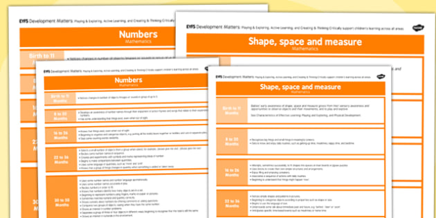 EYFS Early Years Outcomes Posters Mathematics - Early, Years, Outcomes