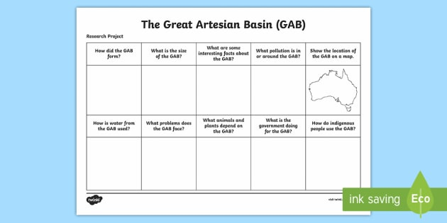 The Great Artesian Basin Research Project Sheet - Water in Australia, The Great Artesian Basin, GAB, underground water, artesian water, bore water, bo