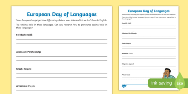 European Day of Languages Writing Hello in Different Languages Activity Sheet, worksheet