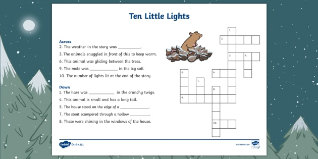Ten Little Lights Crossword Twinkl Originals Fiction Christmas