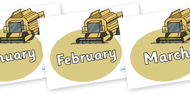 Months of the Year on Combine Harvesters - Months of the Year, Months poster, Months display, display, poster, frieze, Months, month, January, February, March, April, May, June, July, August, September