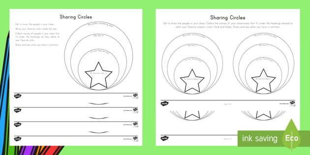graphic relating to Back to School Printable Worksheets named Sharing Circles Back again in direction of Higher education Worksheet / Worksheets - Back again