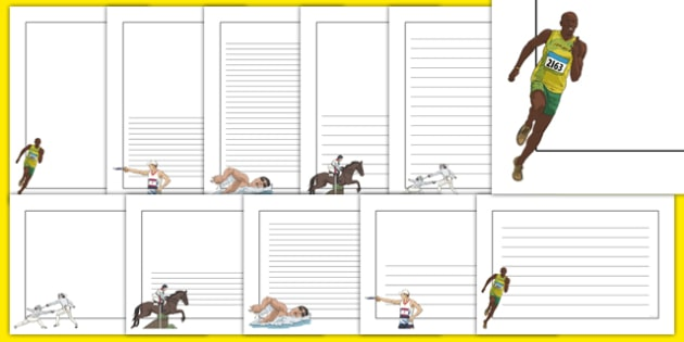 The Olympics Pentathlon Page Borders - Pentathlon, Olympics, Olympic Games, sports, Olympic, London, 2012, page border, border, writing template, writing aid, writing, activity, Olympic torch, events, flag, countries, medal, Olympic Rings, mascots, f
