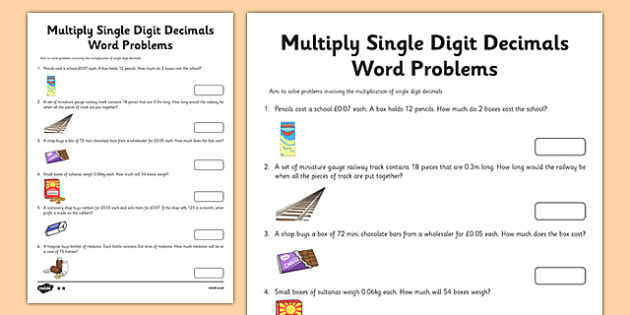 Year 6 Multiply Single Digit Decimals Word Problems Worksheet / Activity Sheet - uks2, ks2, progress, assessment, numbers, times, maths, numeracy, worksheet