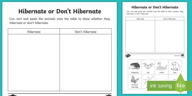 animal hibernation sorting worksheet worksheet animal hibernation sorting. Black Bedroom Furniture Sets. Home Design Ideas