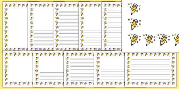 Smiley Pencil Portrait Page Borders - smiley pencil, portrait, page borders, page, borders