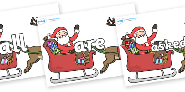 Tricky Words on Santa on Sleigh - Tricky words, DfES Letters and Sounds, Letters and sounds, display, words