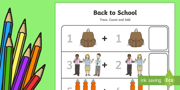 Back to School Trace, Count and Add Up to 10 Activity Sheet - Back to School Australia, back to school worksheet, back to school activity sheet, back to school ma