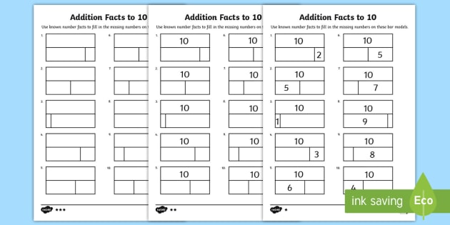 Addition facts to 10 Worksheets (teacher made)