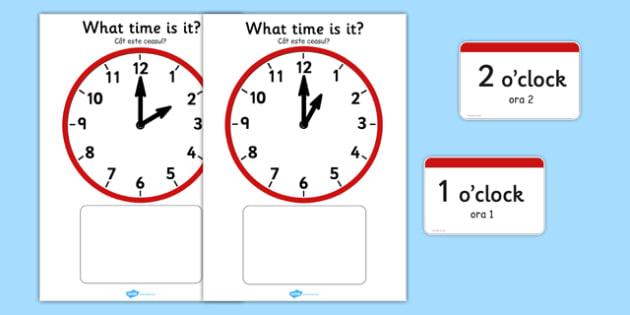 Analogue Clocks Hourly Matching Romanian Translation - romanian, Clock time matching game, Time, Time resource, Time vocabulary, clock face, O'clock, half past, quarter past, quarter to, shapes spaces measures, clock game, time game, foundation stage