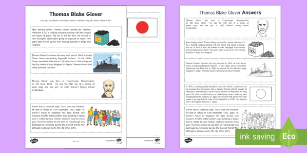 Scottish Significant Individuals Thomas Blake Glover Sequencing Activity Sheet - CfE, Scottish Significant Individuals, key figures, famous Scots, people in past societies, history,