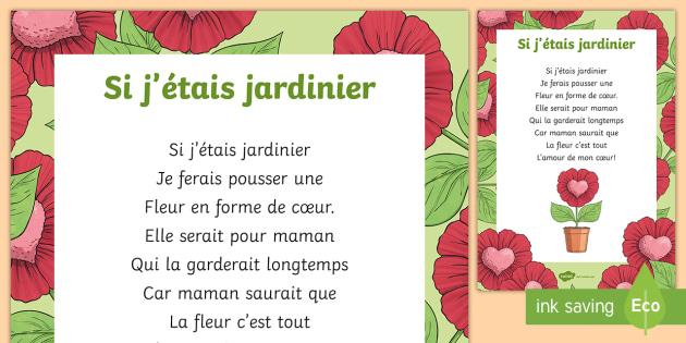 Poème Si Jétais Jardinier La Fête Des Mères La Fête