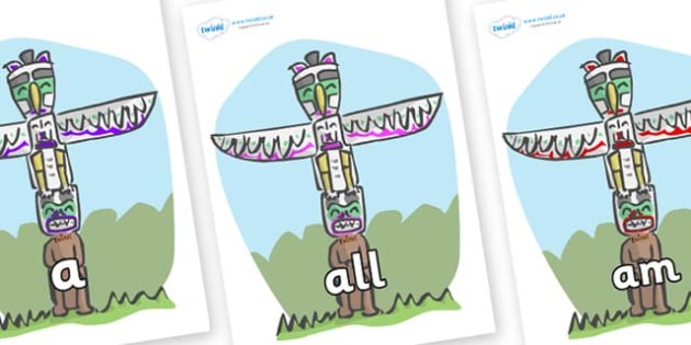 Foundation Stage 2 Keywords on Totem Poles - FS2, CLL, keywords, Communication language and literacy,  Display, Key words, high frequency words, foundation stage literacy, DfES Letters and Sounds, Letters and Sounds, spelling