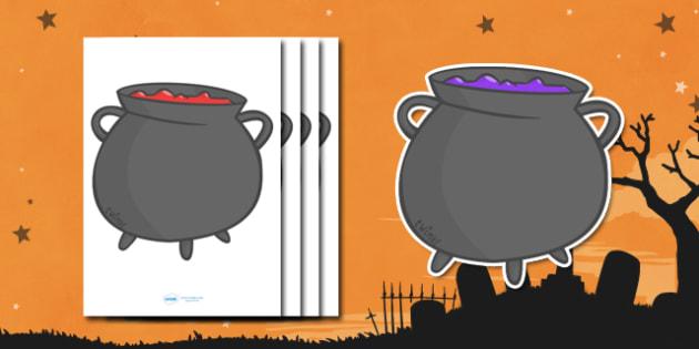 Editable Halloween Cauldrons (A4) - Editable Halloween Cauldrons, cauldrons, A4, display, poster, Halloween, pumpkin, witch, bat, scary, black cat, mummy, grave stone, cauldron, broomstick, haunted house, potion, Hallowe'en