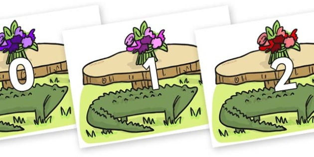 Numbers 0-50 on Trick Four to Support Teaching on The Enormous Crocodile - 0-50, foundation stage numeracy, Number recognition, Number flashcards, counting, number frieze, Display numbers, number posters