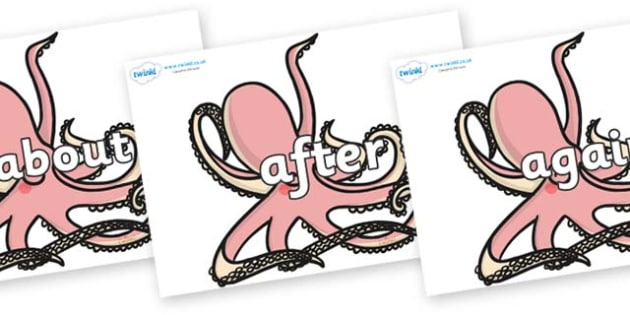 KS1 Keywords on Octopuses - KS1, CLL, Communication language and literacy, Display, Key words, high frequency words, foundation stage literacy, DfES Letters and Sounds, Letters and Sounds, spelling