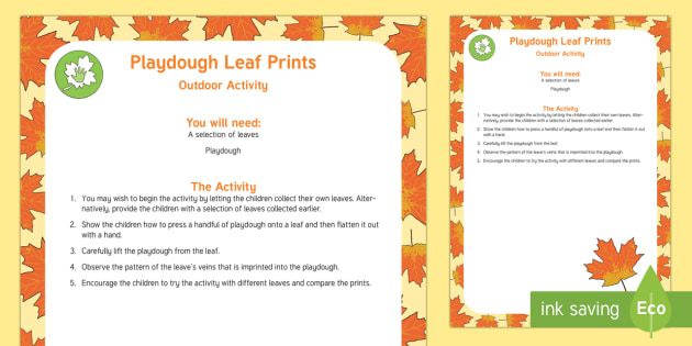 Playdough Leaf Prints Outdoor Activity - EYFS Parks and Gardens, playgrounds, forest school, outdoor learning, outdoor classroom, outside, wo