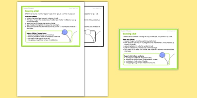 Foundation PE (Reception) - Bouncing a Ball Teacher Support Card - EYFS, PE, Physical Development, Planning
