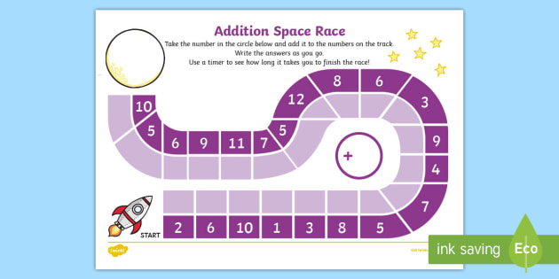 Addition Race Worksheet - addition, race, worksheet, activity