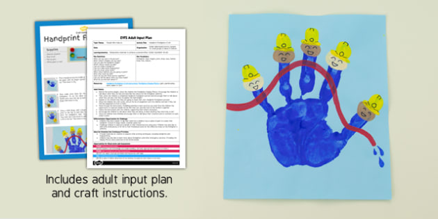 EYFS Handprint Firefighters Craft Adult Input Plan and Resource Pack