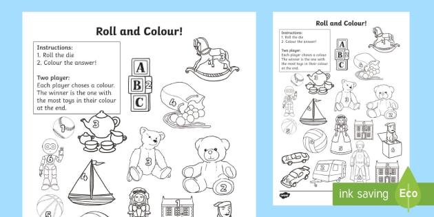 Toy Roll And Colour Worksheet Activity Sheet Toy Roll And