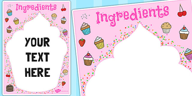 Ingredients Cupcake Themed Editable Notes - edit, baking, cakes
