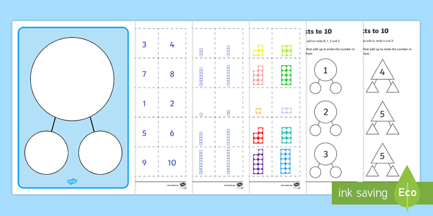 Number Facts to 10 Part Whole Worksheet / Activity Sheets ...