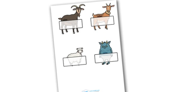 Editable Self-Registration Labels (The Three Billy Goats Gruff) - Self registration, Three Billy Goats Gruff, register, editable, labels, registration, child name label, printable, traditional tales, tale, fairy tale, goat, billy goat, troll, sweet g